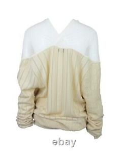 VIVIENNE WESTWOOD Sheer Yellow Lace & Cable Knit Draped Sweater, SS14, Size L