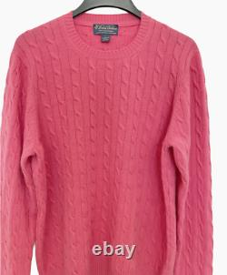 VTG Brooks Brothers Mens 3-Ply Scottish Cashmere Sweater Size L Pink Cable Knit
