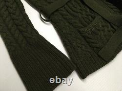 VTG Ralph Lauren Blue Label Cashmere Wool Military Army Cable Sweater Cardigan L