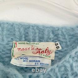 VTG Wool/Mohair Hand Knit Italy Chunky Cable Knit Baby Blue Cardigan Sweater L