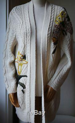 Valentino Embroidered Cable-knit Wool And Alpaca-blend Cardigan Medium