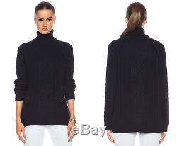Vince $395 Cable Knit Wool-Blend Turtleneck Sweater in Navy S