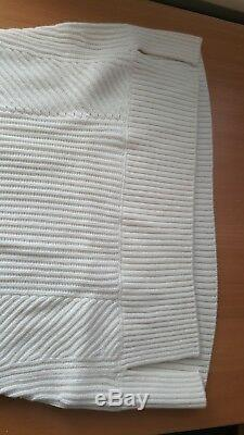 Vince NWT $295 Directional Ribbed Mock Sleeveless off white Sweater XXS