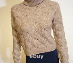Vince Oversized Wool Cashmere Cable-Knit Turtleneck Pullover Sweater XS $445
