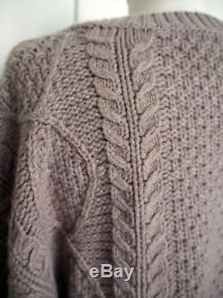Vince Women's Cashmere Cable Knit Sweater Beige Oversized Size S