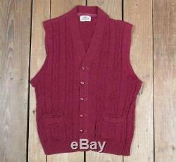 Vintage 1950s Campus Sportswear Wool Sweater Vest Cable Knit withOriginal Box NOS