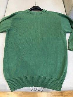 Vintage 90s BURBERRY Jumper Sweater Spell Out Crest Logo Green S M READ DESCR