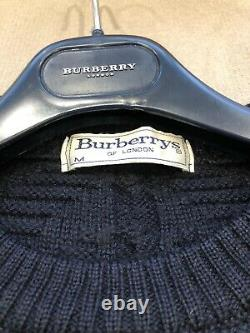Vintage 90s BURBERRY Jumper Sweater Spell Out Crest Logo Navy M L
