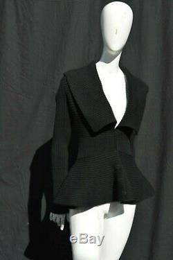 Vintage Alexander McQueen Black Cable Knit Knitwear peplum flared sexy used XS