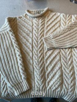 Vintage Burberry Mens Wool Cableknit Sweater, Size M