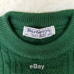 Vintage Burberrys Of London Green Burberry Cable Knit Jumper Sweater Sz M 40