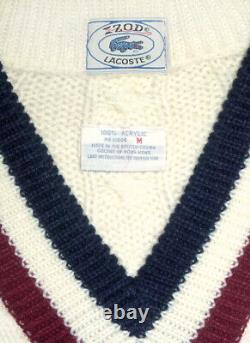 Vintage Cable Knit V-Neck Tennis Sweater IZOD LACOSTE M acrylic striped collar