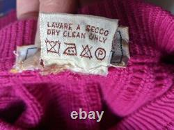 Vintage GUCCI Cashmere Sweater Raspberry Pink 80's Thick Cable Knit Italy