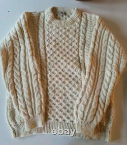 Vintage LL Bean Fisherman Honeycomb Cable Knit Sweater Mens XXL Made In Ireland