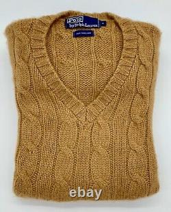 Vintage Polo Ralph Lauren 100% Camelhair V-Neck Cable Knit Sweater withPockets M