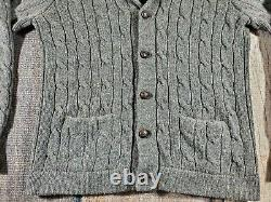 Vintage Polo Ralph Lauren Cable Knit Shawl Collar Cardigan Men Size L 100% Wool