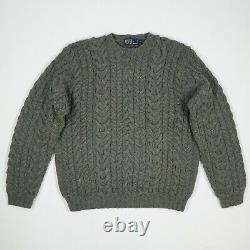 Vintage Polo Ralph Lauren (L) Gray Thick Wool Cable Knit Aran Fisherman Sweater