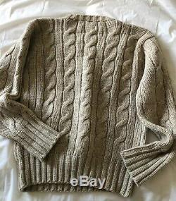 Vintage Polo Ralph Lauren Mens 100% Wool Cable Knit V-neck Sweater M 40