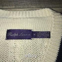 Vintage Purple Label Cable Knit Made In Italy Knit Sweater Size M Off White