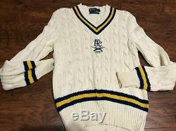Vintage Ralph Lauren Polo Cable Knit Crest Embroidered Logo Sweater Sz Medium