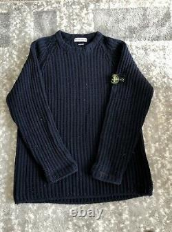 Vintage STONE ISLAND cable Knit Jumper Navy Size XL