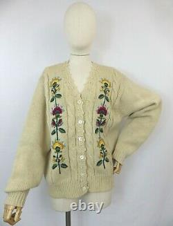 Vintage cream floral cable aran cardigan sweater folk embroidered pure wool 14 M