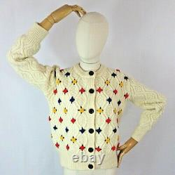 Vintage cream floral cable aran chunky cute cardigan sweater embroidered wool 12