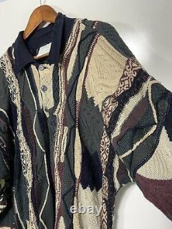 Vtg 90s COOGI Australia Collared Cable Knit Sweater Sz L Earth Tones Green Brown