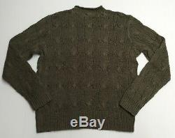Vtg Polo Ralph Lauren Linen Cotton Rope Cable Knit Sweater Pullover Hand Knit M
