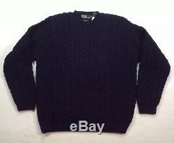 Vtg Polo Ralph Lauren Men Lambswool Super Heavy Chunky Hand Knit Cable Sweater