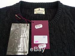 William Lockie 4 x Ply Cashmere cable & rib knit Crew neck sweater 36 Charcoal