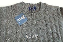William Lockie Crew neck 4 ply Lambswool CABLE & RIB Sweater jumper top 40 Grey