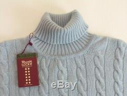 William Lockie Roll neck 4 ply pure cable cashmere sweater pullover 44 blue