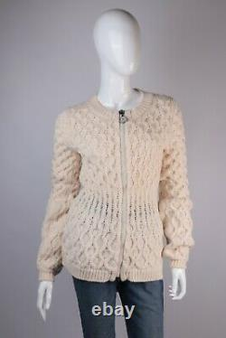 Women's Moncler 2013 Ivory 100% Wool Cable Knit Zip Sweater Size S