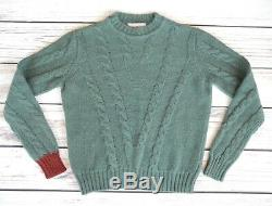 Women's ORLEY 100% Baby Alpaca cable knit sweater XS made in ITALY