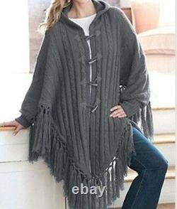 Women's Winter Fall Spring Hooded Toggle Cape Sweater coat jacket plus XL1X 2X3X