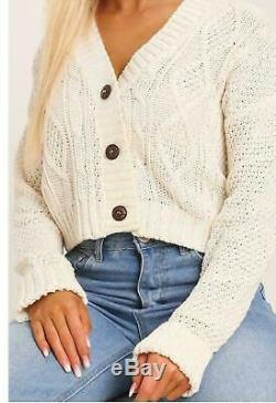 Womens Ladies Short Cropped Length 3 Button Cable Knitted Cardigan Jumper Tops