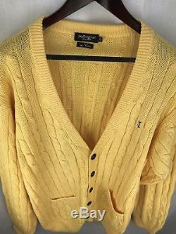 Yves Saint Laurent For Men Extra Large Cardigan Yellow Cable Knit T 5 Xl Sweater
