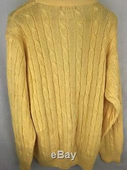 Yves Saint Laurent For Men Extra Large Cardigan Yellow Cable Knit T-5 XL SWEATER