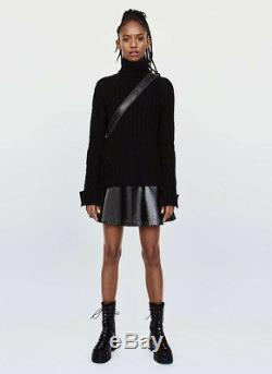 Zara Black Combined Cashmere Cable-knit Sweater Aw17 Sizes M New Tags