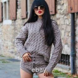 Zara New Woman Wool Blend Cable-knit Sweater Pockets Brown Taupe And Shorts Set