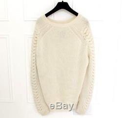 Zoe Jordan Cable Knit Sleeve Cocoon Chunky Cream Cashmere Jumper M/L 12 14